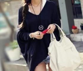 Fashion O Neck Long Sleeve Long Acrylic Sweater - Black